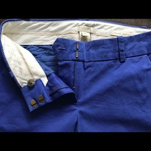 J. Crew Cafe Capri bright blue cotton stretch pant